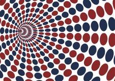 Redemoinho abstrato com teste padrão de ponto vermelho e azul da elipse em b branco Foto de Stock Royalty Free
