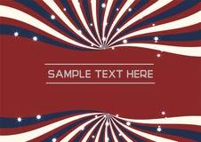 Redemoinho radial azul e branco com vetor efervescente da estrela no fundo vermelho Foto de Stock Royalty Free