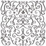 Redemoinhos decorativos Ornamento rodado do vintage, beira de roda e quadro simples Gráfico de vetor da beira da decoração do red ilustração stock