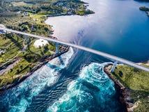 Redemoinhos do redemoinho de Saltstraumen, Nordland, Noruega Fotografia de Stock
