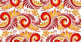 Redemoinhos do vermelho e do amarelo e teste padrão sem emenda das bagas no estilo do khokhloma do russo Fotos de Stock Royalty Free