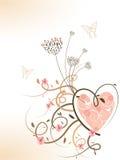 Redemoinhos florais do coração da mola cor-de-rosa ilustração do vetor
