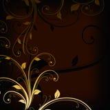Redemoinhos florais dourados do vintage no fundo escuro imagem de stock