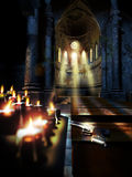 Redemption. Inside a church or cathedral. Close view to a gun on a bench, illuminated by several candles offered as redemption for sins Royalty Free Illustration