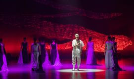 """Redemption of self-Huang Mingliang`s dance""""No shelter"""". Huang Mingliang`s dance""""No shelter"""",Young dancers from Jiangxi Institute of royalty free stock photography"""