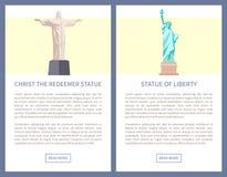 Redentor y Liberty Statues Promo Posters de Cristo ilustración del vector