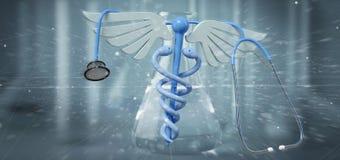 redering医疗cadaceus和听诊器的3d隔绝在军医 免版税库存图片