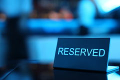 Rederved card. Reserved card sitting on a formal place setting Royalty Free Stock Image