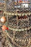 Redes apiladas de la langosta Fotografía de archivo libre de regalías