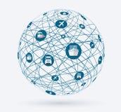 Redes, conexiones globales de servicios en mercancías de la entrega Fotografía de archivo libre de regalías