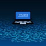 Redes, conexiones, movilidad - Tablet PC en 3D azul Mesh Pattern stock de ilustración