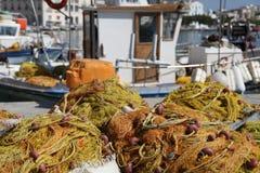 Redes de los pescados en Grecia imagen de archivo libre de regalías