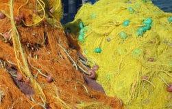 Redes de pesca amarelas fotografia de stock
