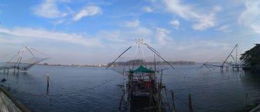 Redes de pesca chinas Kerala Imagen de archivo libre de regalías