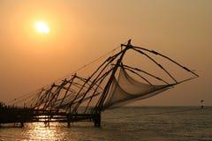 Redes de pesca de Kerala Fotos de Stock Royalty Free