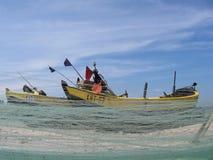 Redes de pesca del anuncio del barco Foto de archivo libre de regalías