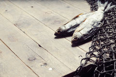 Redes de pesca e ainda-vida secada dos peixes no fundo de madeira Fotos de Stock Royalty Free