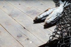 Redes de pesca e ainda-vida secada dos peixes no fundo de madeira Imagens de Stock Royalty Free