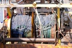 Redes de pesca en el barco rastreador. Imagen de archivo