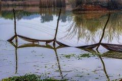 Redes de pesca en los estanques de peces imagen de archivo libre de regalías