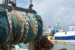 Redes de pesca en puerto francés fotos de archivo libres de regalías