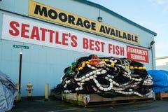 Redes de pesca na pálete Foto de Stock Royalty Free