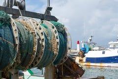 Redes de pesca no porto francês fotos de stock royalty free