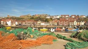 Redes de pesca, puerto de Whitby. Imagenes de archivo