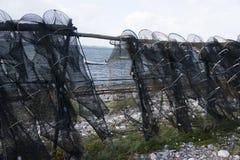 Redes de pesca que penduram na costa Imagens de Stock Royalty Free