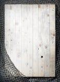Redes de pesca sobre o fundo de madeira com espaço da cópia Foto de Stock Royalty Free