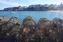Redes de pesca vacías y el mar Fotografía de archivo libre de regalías