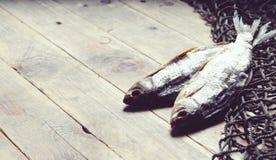 Redes de pesca y aún-vida secada de los pescados en el fondo de madera Imagenes de archivo
