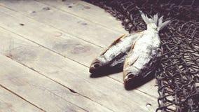 Redes de pesca y aún-vida secada de los pescados en el fondo de madera Fotos de archivo