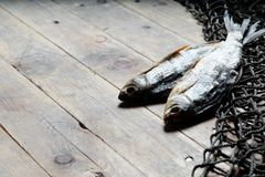 Redes de pesca y aún-vida secada de los pescados en el fondo de madera Imagen de archivo