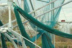 Redes del barco del camarón Imagenes de archivo