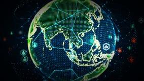 redes del mundo de 4K Digitaces del color de la gente ilustración del vector