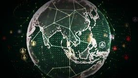 redes del mundo de 4K Digitaces del verde de la gente stock de ilustración