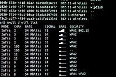 Redes del wifi de la exploración Wifi de la exploración de comando de Linux imagen de archivo