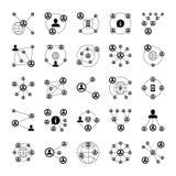 Redes do socia dos povos, ícones da conexão do relacionamento do intranet A nuvem humana liga símbolos isolados vetor ilustração do vetor