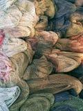 Redes dos peixes na praia de Goa, Índia imagens de stock