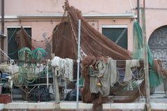 Redes dos pescadores nos bancos de Veneza Fotografia de Stock