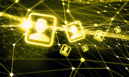 Redes e conceito sociais dos trabalhos em rede 3d rendem Fotos de Stock