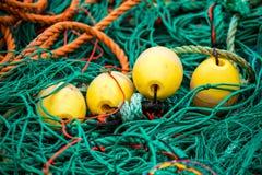 Redes e flutuadores de pesca Foto de Stock Royalty Free