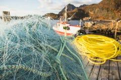 Redes e flutuadores de pesca Fotografia de Stock