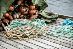 Redes e flutuadores de pesca Imagens de Stock Royalty Free