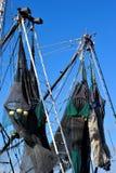 Redes em barcos de pesca comercial Imagem de Stock