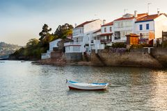 Redes: fishing village of Spain attached to the sea. Redes: fishing village with nice houses attached to the sea Royalty Free Stock Photos