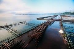 Redes flotantes de la granja de pescados del lago en la mañana de niebla Foto de archivo