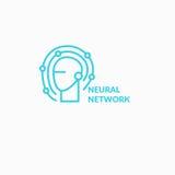 Redes neurais, sinal conceptual e logotipo O sistema analítico ilustração royalty free