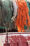 Redes no pesca-barcos Fotos de Stock Royalty Free